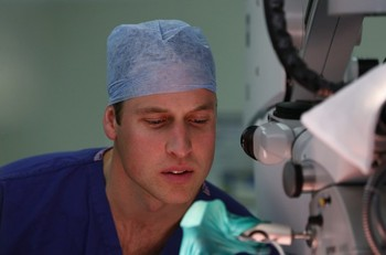 Prince William watches a breast reconstruction surgery